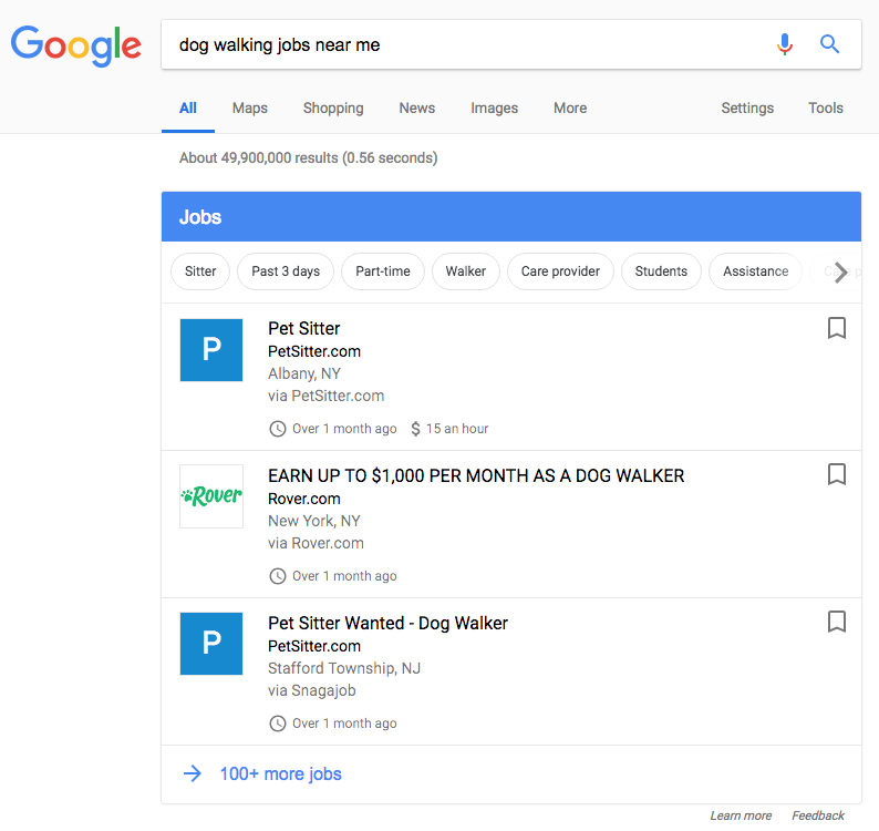 search Google for dog walking jobs